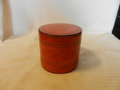 Vintage Hand Made Round Wooden Trinket Box with Two Trays Oriental Design