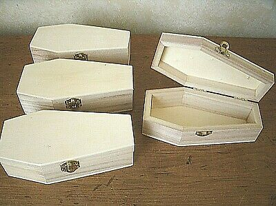 """Lot of (12) 6"""" UNFINISHED Pine wood Miniature COFFIN ~ Halloween DIY decor"""