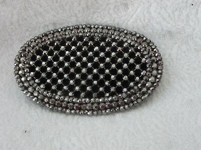 "#1/3C vtg Womens DECO BELT BUCKLE Silver tone CUT STEEL MARISITE  2"" X 3"""