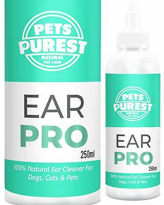 Ear Cleaner For Dogs Cats & Pets 100% Natural Fights Infection Yeast & Mites 250
