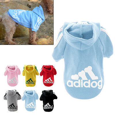 Cool Spring Fall Casual Adidog Pets Dog Clothes Warm Hoodie Coat Jacket Blue XXL