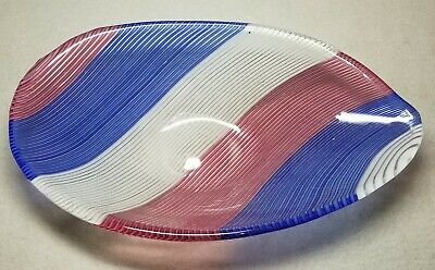 1954 Design Murano Red White & Blue Striped Art Glass Bowl By Dino Martens