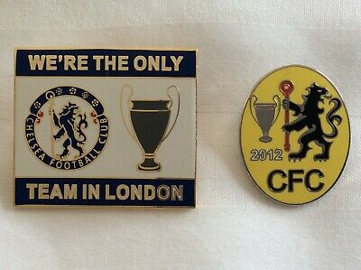 Pair of Chelsea pin badges European Cup Champions League winners 2012