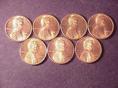 1982 seven varieties circ. small cents-copper, zinc, large date, small date.