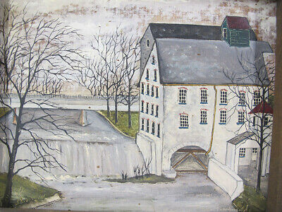ORIGINAL Dolores Hackenberger Oil on Board Old Mill at Waterfall Vintage NR yqz