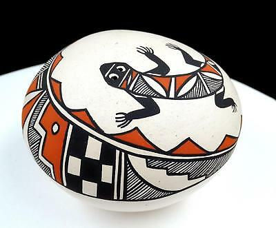 "Angelina Medina Signed Native Pottery Acoma Pueblo Lizard Design 3 1/2"" Seed Pot"
