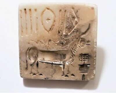 Ancient Indus Valley Mohenjo Daro White Marble Stamp Seal