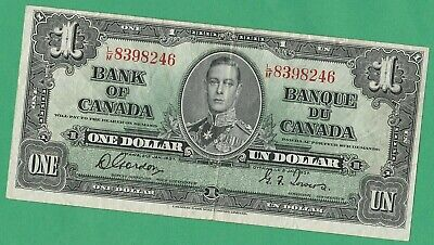 1937 Bank Of Canada 1 Dollar Bill- Gordon/ Towers- VERY Lightly Circulated-