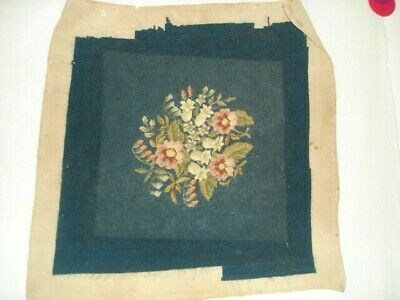 """Finished Needlepoint Floral Blue Pink Green 16 x 16"""" Needlepoint for Upholstery"""