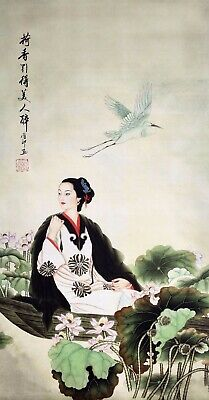 100% ORIENTAL FAMOUS FINE ART CHINESE WATERCOLOR PAINTING-Beauty girl&Lotus&Bird
