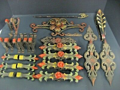 Antique Art Deco nouveau Cast Iron Curtain Hooks Brackets Tie Backs Hardware LOT
