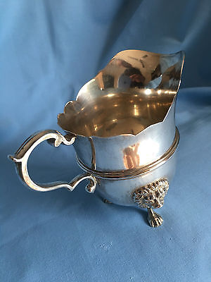 Beautiful Fine Sterling Silver Cream Jug Applied Lion Footed L & F Emanue 1933