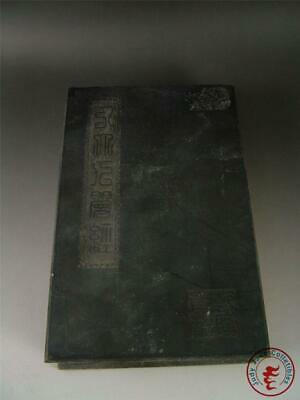 Large Old Chinese White Stone Inlaid Ancient Book Kwanyin Calligraphy Buddhism