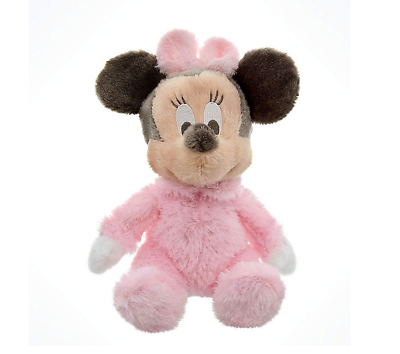 """Disney Parks Exclusive Baby Minnie Mouse 9"""" Inch Long Pile Plush Rattle Doll NEW"""