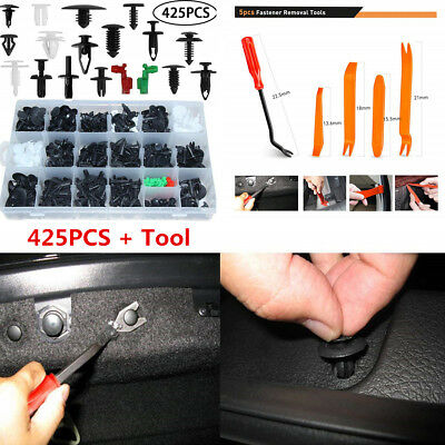 425pcs Car Body Trim Clips Retainer Bumper Rivets Panel Push Fastener+Tool Kit