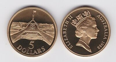 1988 $5 Proof Coin New Parliament House Canberra Australia #