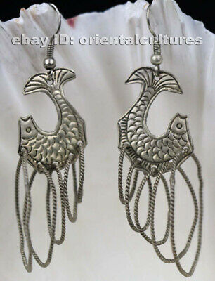 Tribal exotic chinese handmade miao silver fish earring