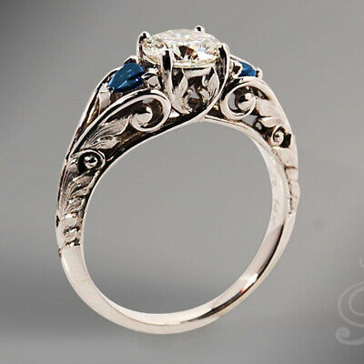 Gorgeous Round Blue Sapphire Engagement Ring 925 Silver Wedding Jewelry Sz6-10