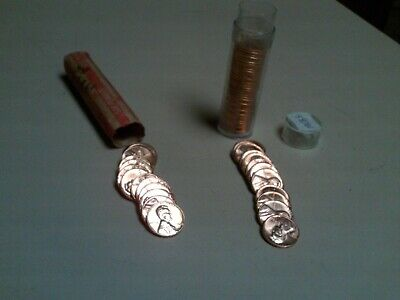 1968 S  Unc Penny Rolls 2 Rolls 100 1968 S Uncirculated Lincoln Memorial Cents