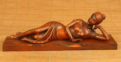 old boxwood hand carving lie down Beautiful Girl statue figue netsuke+pedestal