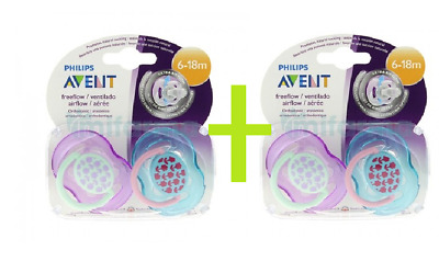 2 X philips Avent  Baby Soother 6-18 Months 2 Pack freeflow