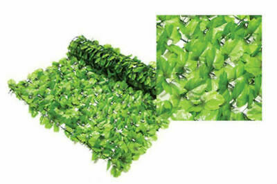 Artificial Ivy Leaf Hedge Panels On Roll Fence Privacy Screening 1m x3m Green