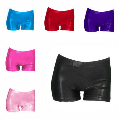 Girls Shorts Metallic Gymnastics Gym Dance Stretch Party Kid's Hot Pants NEW