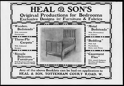 1902 Antique Print Advertisement  -  Heal Sons Furniture Designs Fabrics  (104)