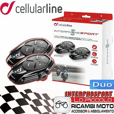 Sport Cellularline Interfono Moto Interphone Casco Pack Doppio Bluetooth