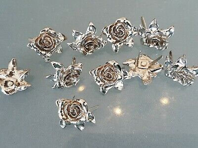 10 x ROSE CONCHO PRONGED BACK 20x22mm Leathercraft, Cosplay NEW  *FREE SHIPPING*
