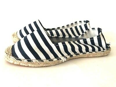 c07fc8aef Ann Taylor Loft Espadrille Flats Navy-Blue White Striped Canvas Woven Cap  Toe 10