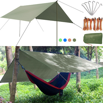 3x3m Camping Tent Hammock Tarp Rain Fly Cover Waterproof Shelter Lightweight UK
