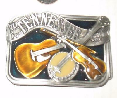 1985 Tennessee Belt Buckle Enameled Guitar Banjo Fiddle Bergamot Brass Works USA