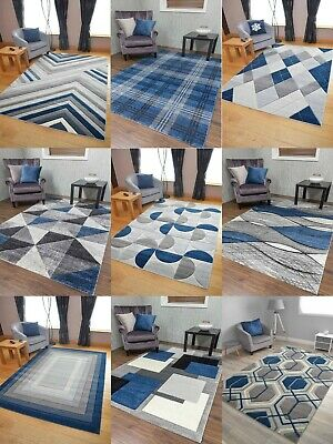 Dk Blue Rugs Thick Quality Hand Carved Grey Silver Soft Mats Hall Runners Cheap