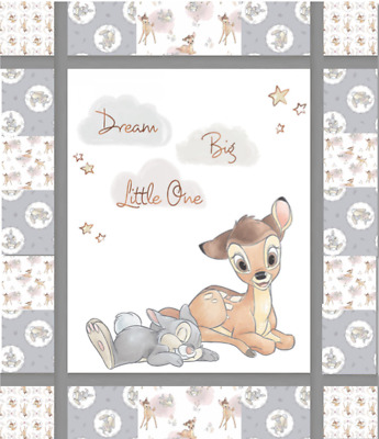 """BACKING INCLUDED Quilt kit, Bambi with Thumper & """"Dream Big Little One"""""""