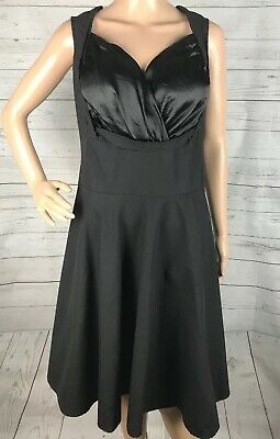 Pin Up Style Little Black Dress Large Sexy Flattering Satin Bodice Swing Dance