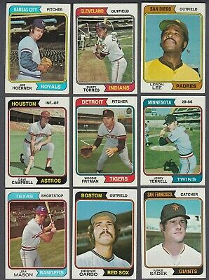 Huge Vintage 1974 Topps Vintage Lot Of 9 Bernie Carbo (Well Centered) Red Sox