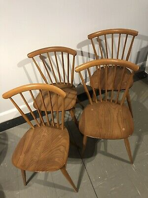 Four Ercol dining chairs in light blonde Elm and Beech 1960's Mid Century