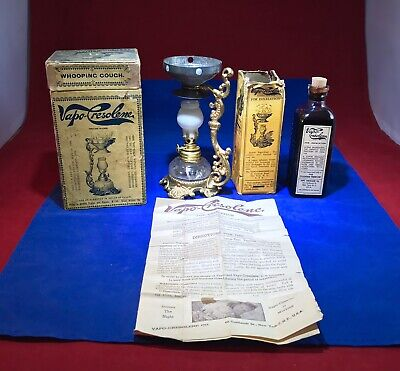 VAPO CRESOLENE - Oil Lamp & Sealed Inhalation Med- Original Boxes - Instructions
