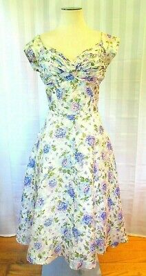 Vintage 1940s 1950s Dress by Emile Purple White Blue Green 39 L XL Lilac Floral
