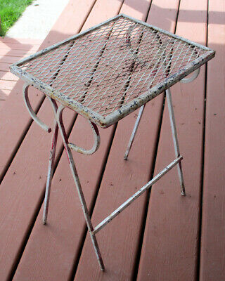 Vintage VTG Wrought Iron Wire Mesh Metal Nesting Table Patio Stand Salterini MCM