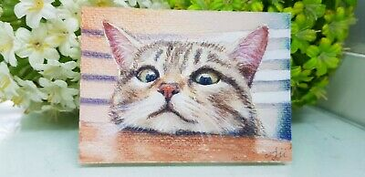 Original painting watercolor art signed picture ACEO - Cute cat
