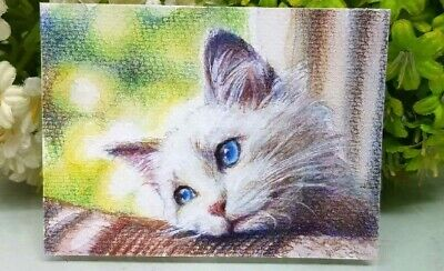 Original painting watercolor art signed picture ACEO - Waiting cat
