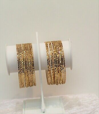 Indian Gold Plated Bangles Set 12 Chudiya Size 2.8 Fashion Jewellery Women