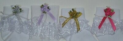 Girls  White Frilly Lace  Socks Size Loads Of Sizes Bows And Beads  Rose Cluster