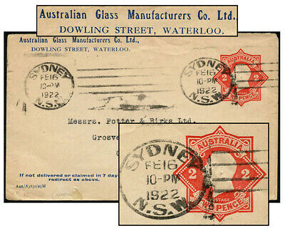AUSTRALIA 2d RED PSE FEB 1922 SYDNEY Kellow ES61