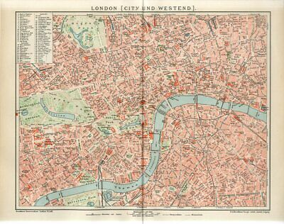 1895 ENGLAND LONDON CITY and WESTEND Antique Map