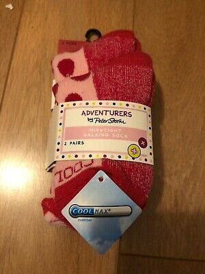 Adventurers By Peter Storm Midweight Walking Sock 2 Pairs S 10-13 Pink