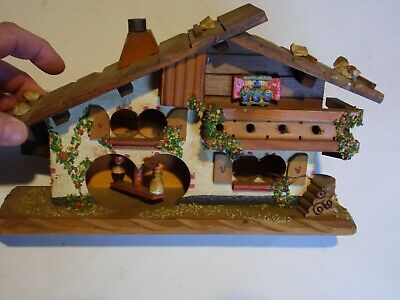 Vintage Austrian Alps or German Black Forest wooden house ornament wall hanger