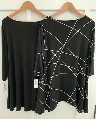 ALFANI WOMAN 1X Lot Of 2 Asymmetric Hem Stretch 3/4 Sleeve Tunic Tops NWT!